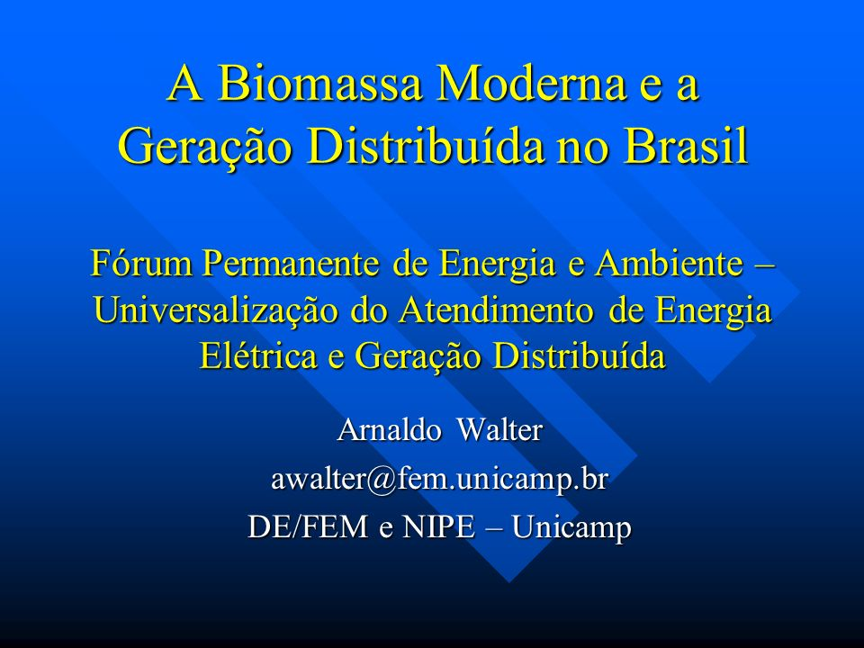 Conteúdo da apresentação Biomassa moderna Biomassa moderna Geração Distribuída Geração Distribuída Aspectos de sustentabilidade Aspectos de sustentabilidade Geração elétrica a partir da biomassa, no Mundo e no Brasil: situação atual Geração elétrica a partir da biomassa, no Mundo e no Brasil: situação atual Tecnologias: convencionais e modernas Tecnologias: convencionais e modernas Perspectivas, para o Brasil Perspectivas, para o Brasil