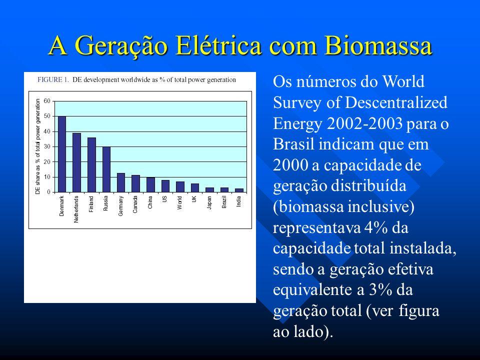 A Geração Elétrica com Biomassa Os números do World Survey of Descentralized Energy 2002-2003 para o Brasil indicam que em 2000 a capacidade de geraçã