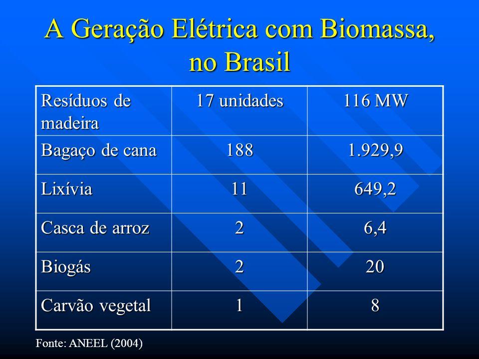 A Geração Elétrica com Biomassa, no Brasil Resíduos de madeira 17 unidades 116 MW Bagaço de cana 1881.929,9 Lixívia11649,2 Casca de arroz 26,4 Biogás2