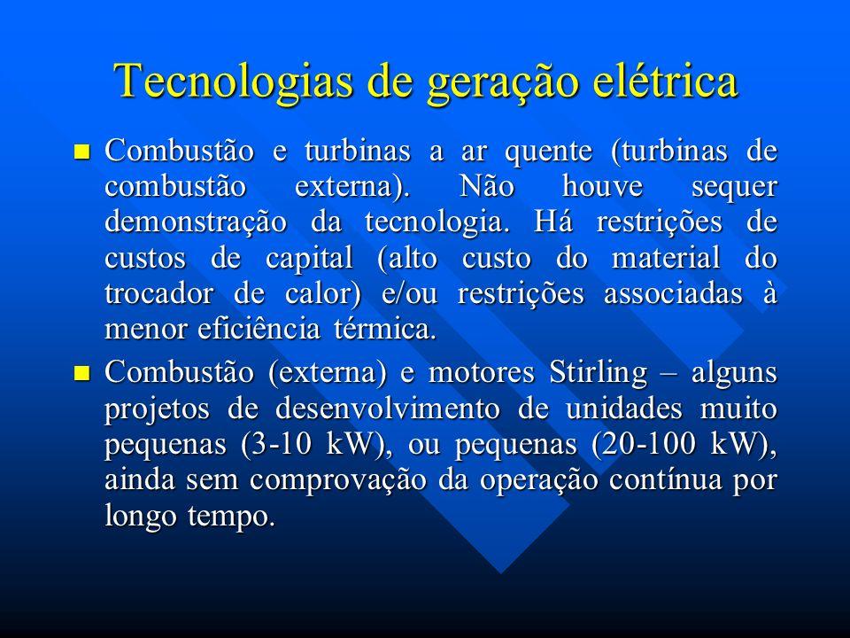 Tecnologias de geração elétrica Combustão e turbinas a ar quente (turbinas de combustão externa). Não houve sequer demonstração da tecnologia. Há rest