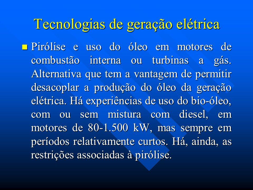 Tecnologias de geração elétrica Pirólise e uso do óleo em motores de combustão interna ou turbinas a gás. Alternativa que tem a vantagem de permitir d