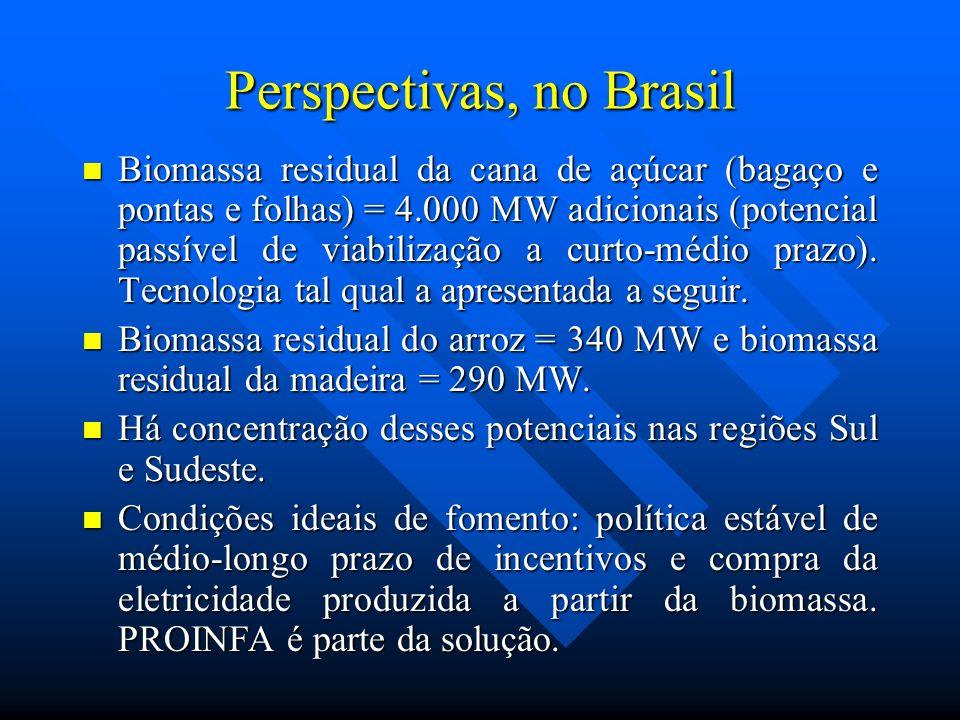 Perspectivas, no Brasil Biomassa residual da cana de açúcar (bagaço e pontas e folhas) = 4.000 MW adicionais (potencial passível de viabilização a cur