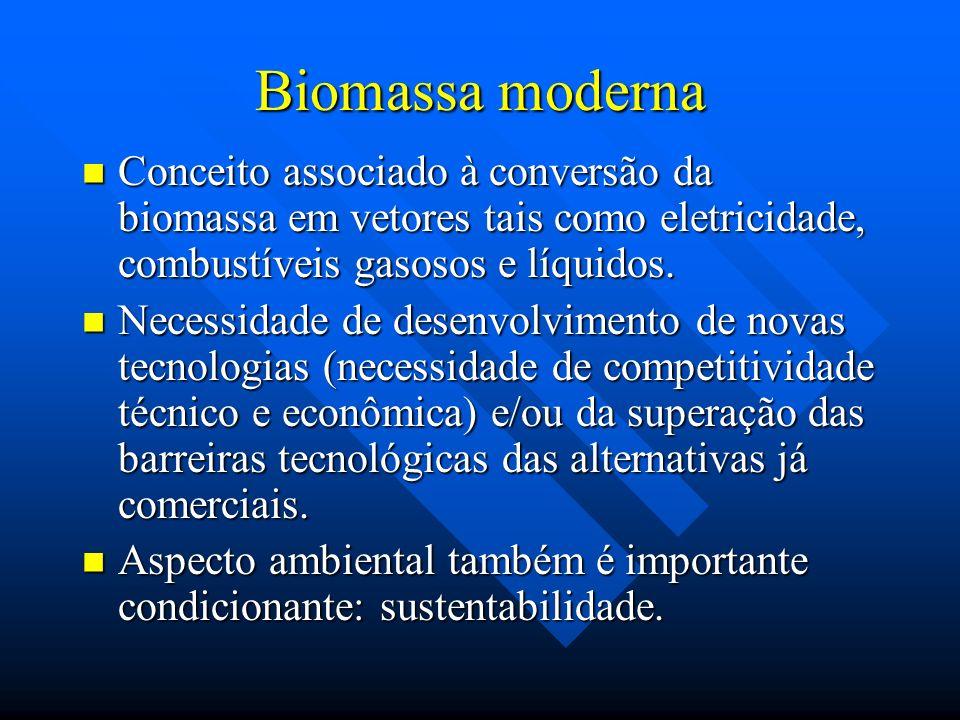 Biomassa moderna Conceito associado à conversão da biomassa em vetores tais como eletricidade, combustíveis gasosos e líquidos. Conceito associado à c
