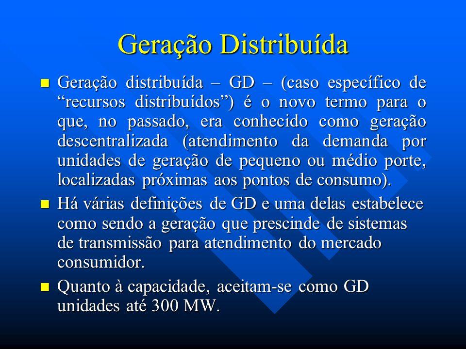 Geração Distribuída Geração distribuída – GD – (caso específico de recursos distribuídos) é o novo termo para o que, no passado, era conhecido como ge