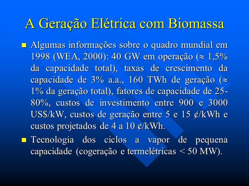 A Geração Elétrica com Biomassa Algumas informações sobre o quadro mundial em 1998 (WEA, 2000): 40 GW em operação ( 1,5% da capacidade total), taxas d