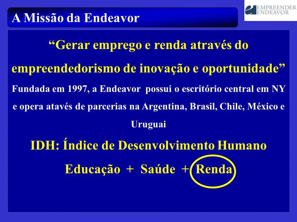 A Missão da Endeavor Gerar emprego e renda através do empreendedorismo de inovação e oportunidade Fundada em 1997, a Endeavor possui o escritório cent