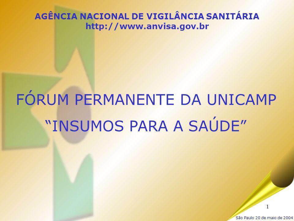 1 AGÊNCIA NACIONAL DE VIGILÂNCIA SANITÁRIA http://www.anvisa.gov.br FÓRUM PERMANENTE DA UNICAMP INSUMOS PARA A SAÚDE São Paulo 20 de maio de 2004