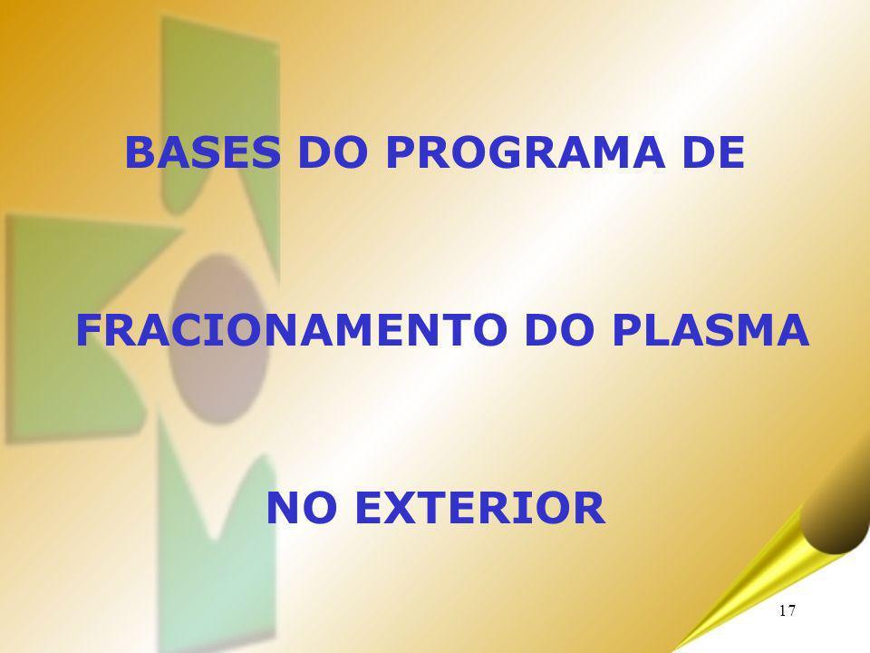 17 BASES DO PROGRAMA DE FRACIONAMENTO DO PLASMA NO EXTERIOR