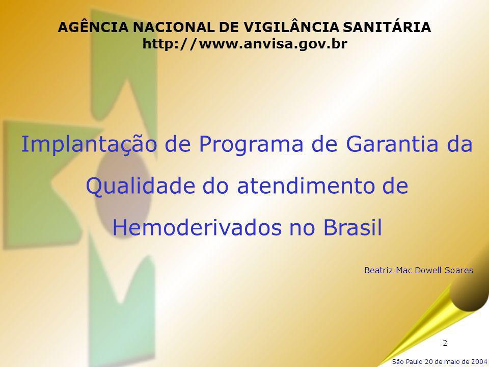 2 AGÊNCIA NACIONAL DE VIGILÂNCIA SANITÁRIA http://www.anvisa.gov.br Implantação de Programa de Garantia da Qualidade do atendimento de Hemoderivados n