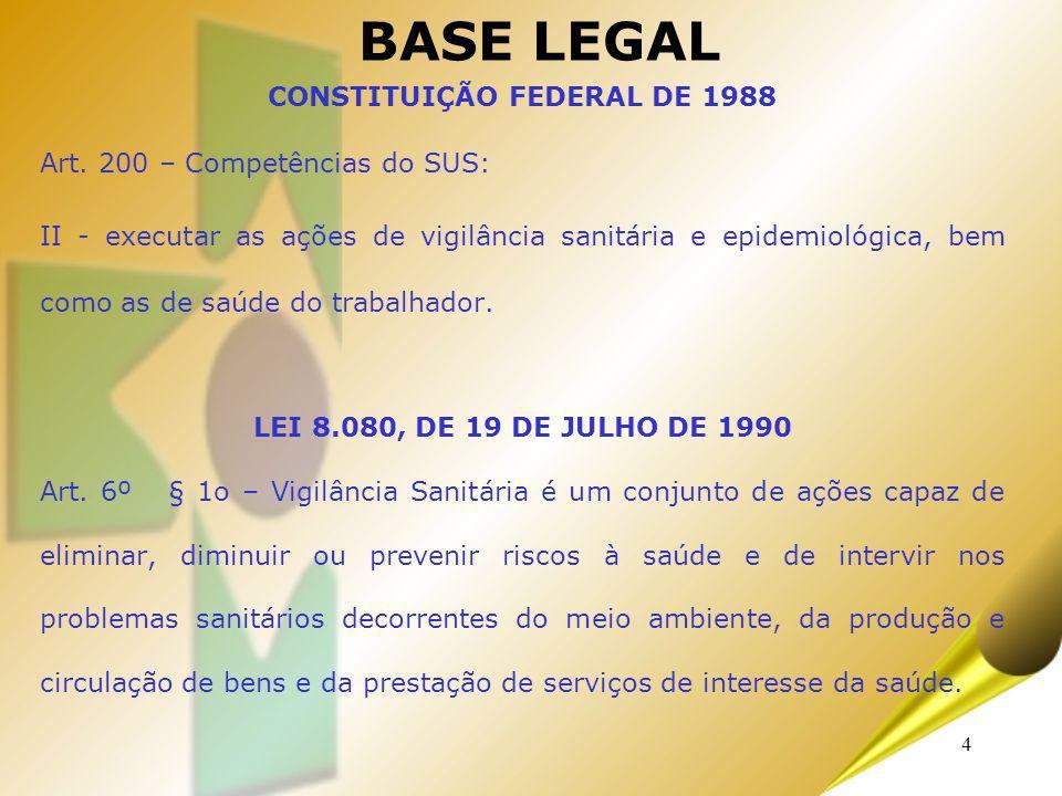 4 BASE LEGAL CONSTITUIÇÃO FEDERAL DE 1988 Art. 200 – Competências do SUS: II - executar as ações de vigilância sanitária e epidemiológica, bem como as