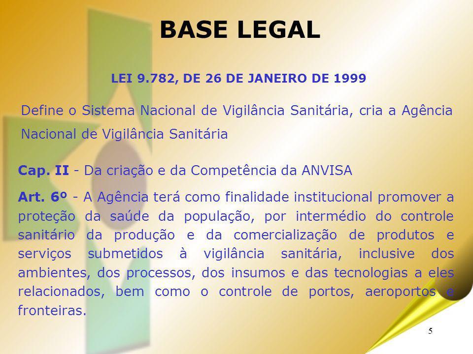 5 Define o Sistema Nacional de Vigilância Sanitária, cria a Agência Nacional de Vigilância Sanitária BASE LEGAL LEI 9.782, DE 26 DE JANEIRO DE 1999 Ca
