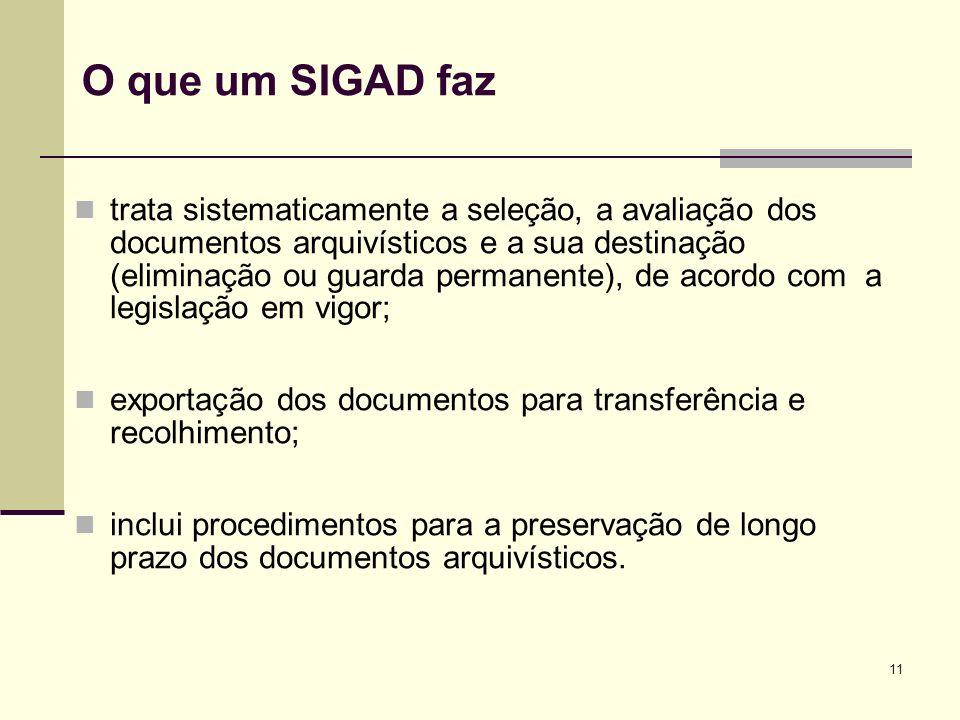 11 O que um SIGAD faz trata sistematicamente a seleção, a avaliação dos documentos arquivísticos e a sua destinação (eliminação ou guarda permanente),