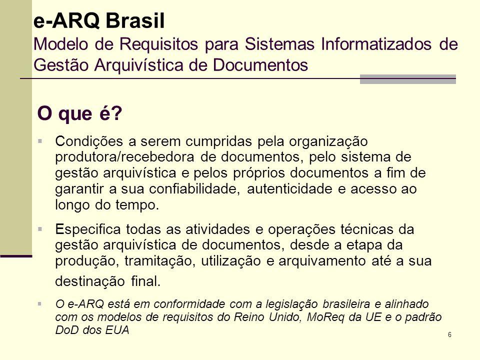 6 e-ARQ Brasil Modelo de Requisitos para Sistemas Informatizados de Gestão Arquivística de Documentos O que é? Condições a serem cumpridas pela organi