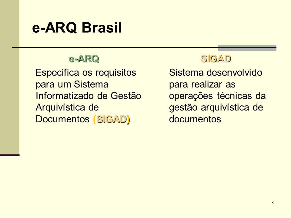 8 e-ARQ Brasil e-ARQ SIGAD) Especifica os requisitos para um Sistema Informatizado de Gestão Arquivística de Documentos (SIGAD)SIGAD Sistema desenvolv