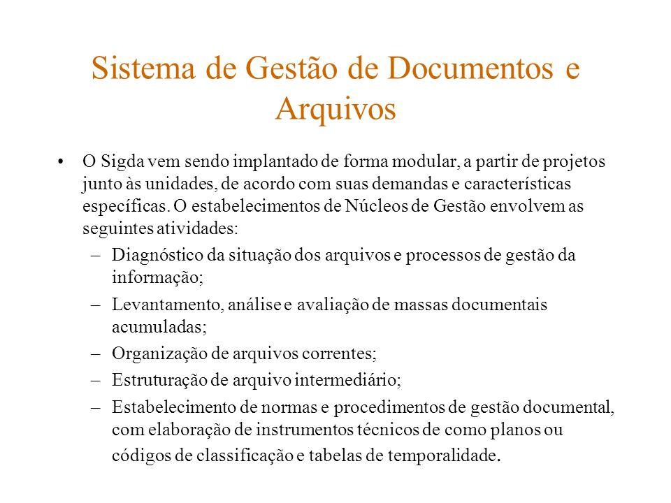 Sistema de Gestão de Documentos e Arquivos O Sigda vem sendo implantado de forma modular, a partir de projetos junto às unidades, de acordo com suas d