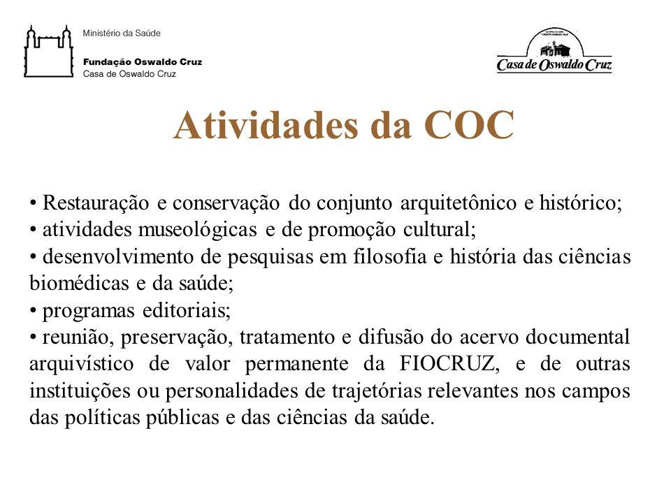 Atividades da COC Restauração e conservação do conjunto arquitetônico e histórico; atividades museológicas e de promoção cultural; desenvolvimento de