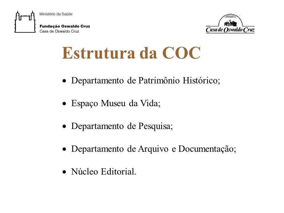 Estrutura da COC Departamento de Patrimônio Histórico; Espaço Museu da Vida; Departamento de Pesquisa; Departamento de Arquivo e Documentação; Núcleo