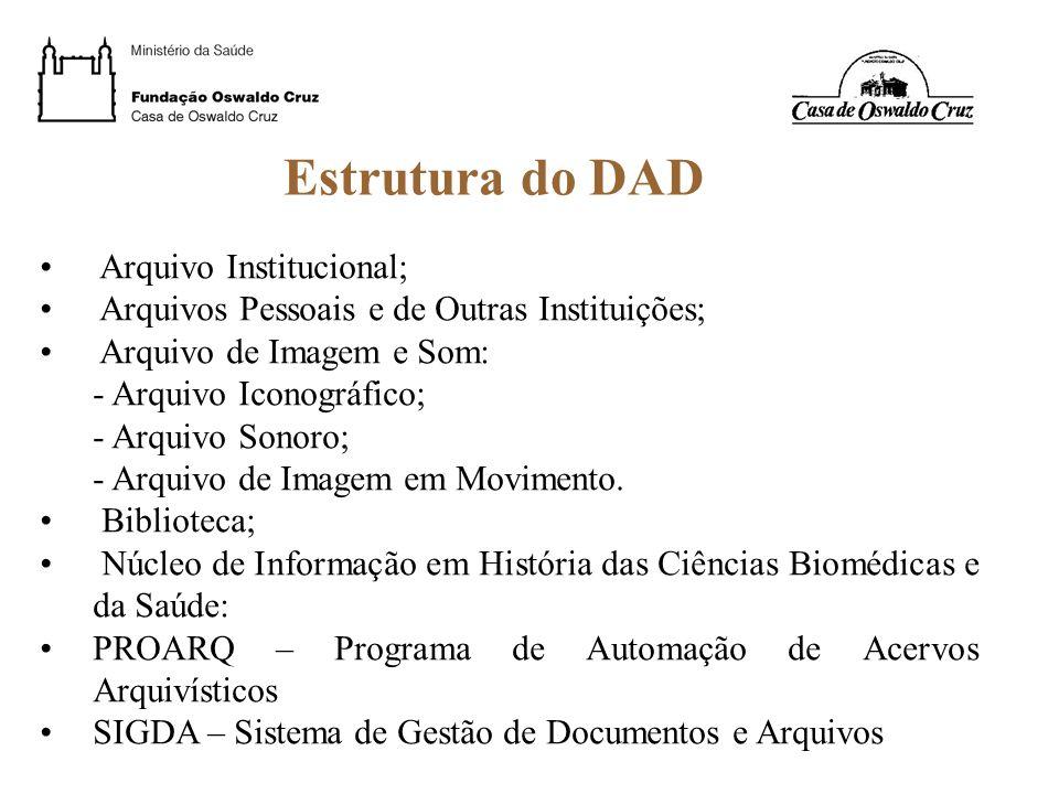 Estrutura do DAD Arquivo Institucional; Arquivos Pessoais e de Outras Instituições; Arquivo de Imagem e Som: - Arquivo Iconográfico; - Arquivo Sonoro;
