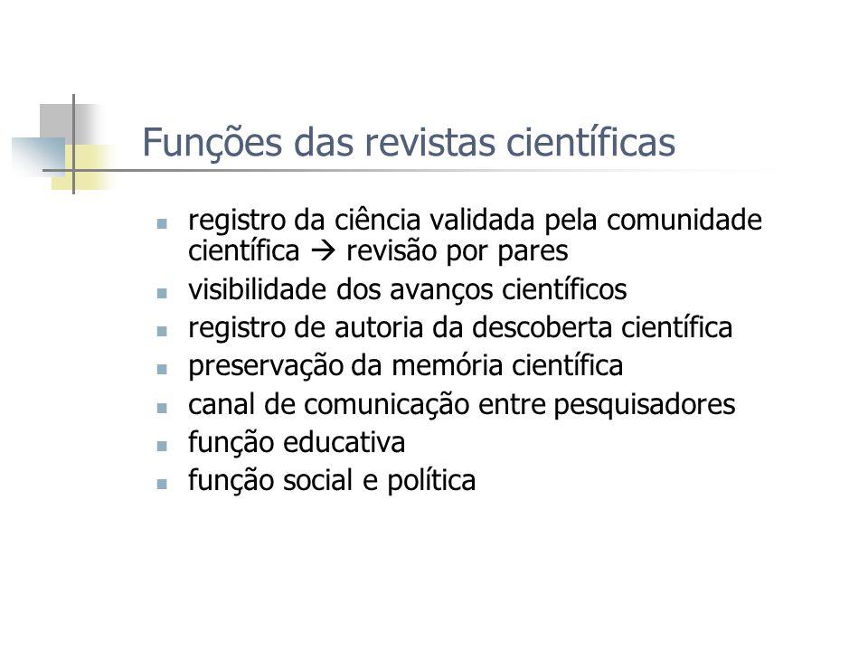 Funções das revistas científicas registro da ciência validada pela comunidade científica revisão por pares visibilidade dos avanços científicos regist