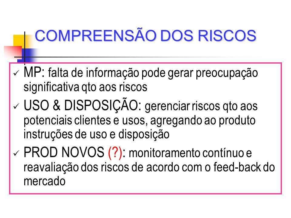 COMPREENSÃO DOS RISCOS MP: falta de informação pode gerar preocupação significativa qto aos riscos USO & DISPOSIÇÃO: gerenciar riscos qto aos potencia