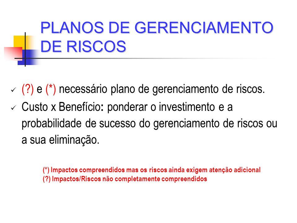 PLANOS DE GERENCIAMENTO DE RISCOS (?) e (*) necessário plano de gerenciamento de riscos. Custo x Benefício : ponderar o investimento e a probabilidade