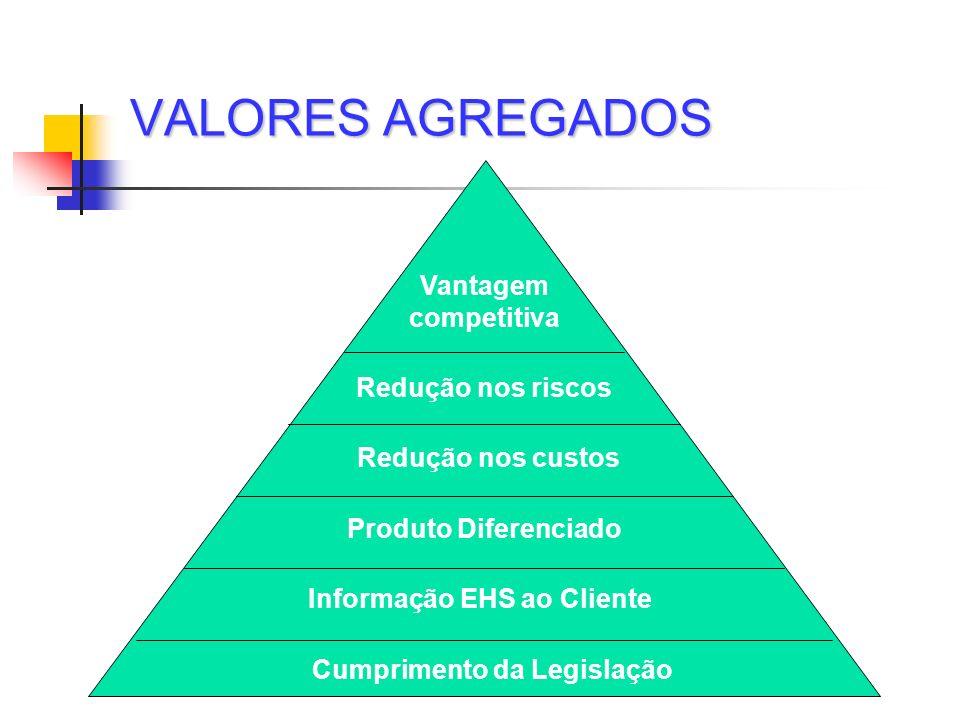 VALORES AGREGADOS Vantagem competitiva Redução nos riscos Redução nos custos Produto Diferenciado Informação EHS ao Cliente Cumprimento da Legislação
