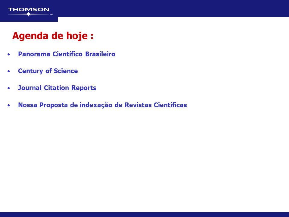Panorama Científico Brasileiro Century of Science Journal Citation Reports Nossa Proposta de indexação de Revistas Cientificas Agenda de hoje :