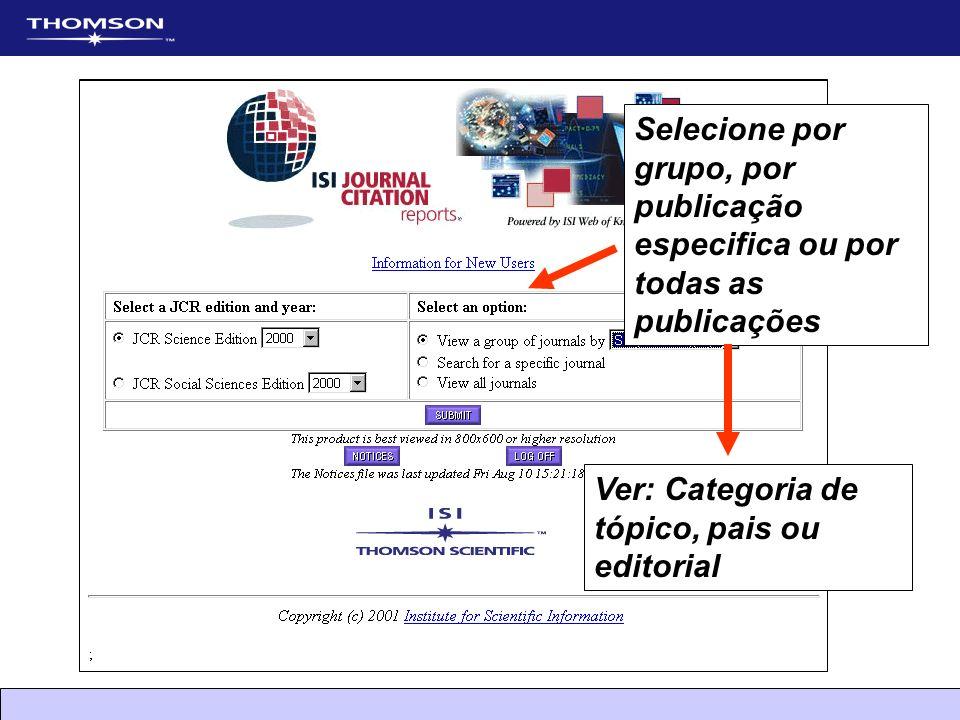 Selecione por grupo, por publicação especifica ou por todas as publicações Ver: Categoria de tópico, pais ou editorial