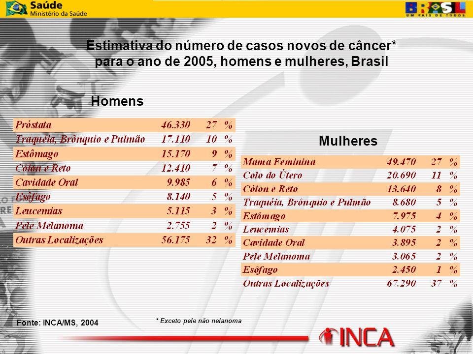 Fonte: INCA/MS, 2004 * Exceto pele não nelanoma Estimativa do número de casos novos de câncer* para o ano de 2005, homens e mulheres, Brasil Homens Mu