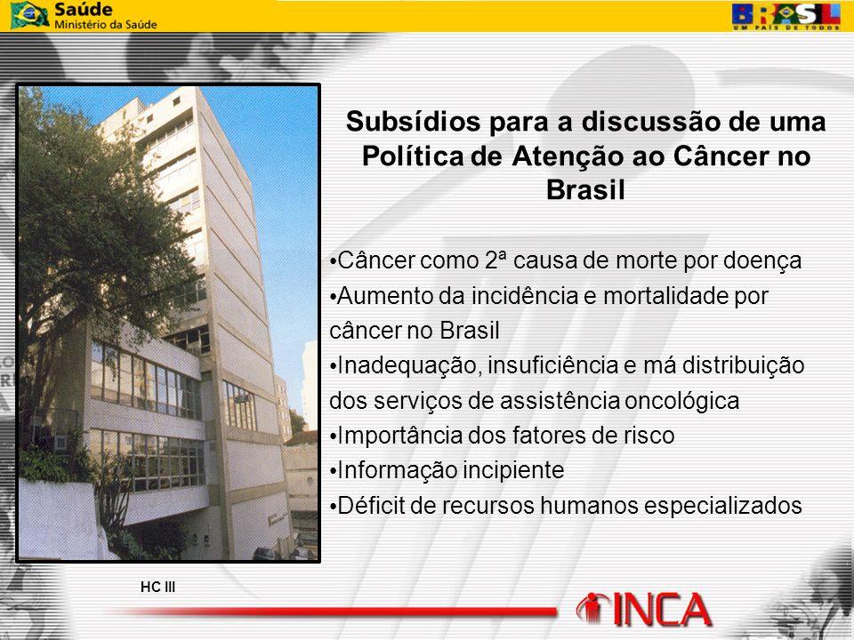 Subsídios para a discussão de uma Política de Atenção ao Câncer no Brasil Câncer como 2ª causa de morte por doença Aumento da incidência e mortalidade