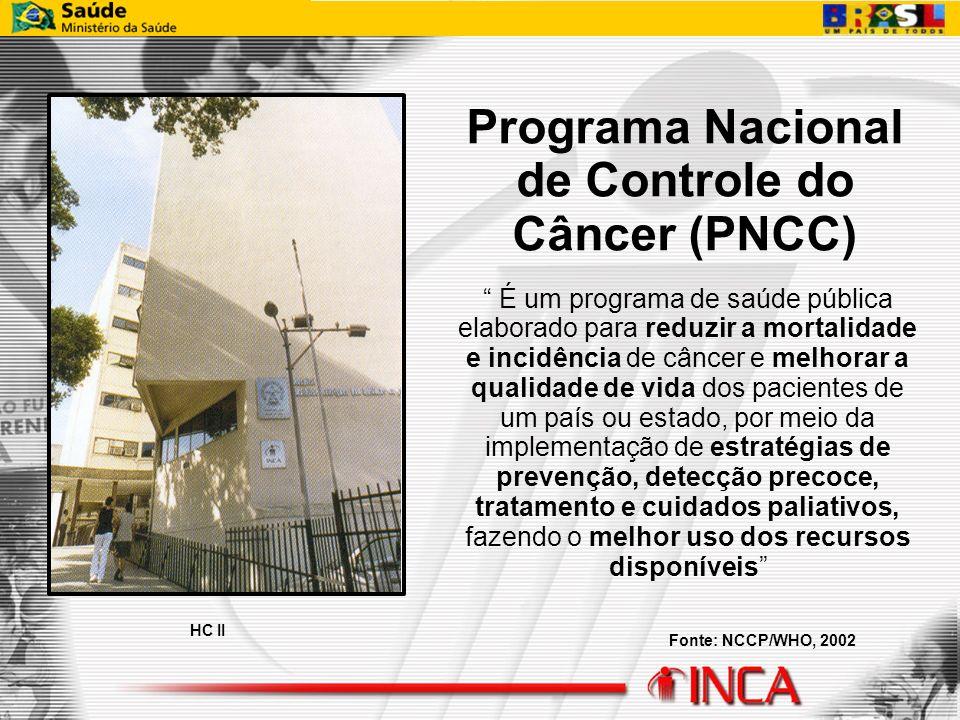 HC II Programa Nacional de Controle do Câncer (PNCC) É um programa de saúde pública elaborado para reduzir a mortalidade e incidência de câncer e melh