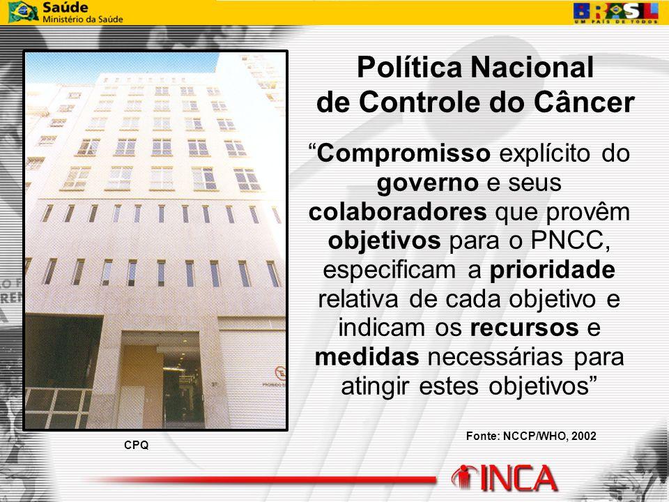 Política Nacional de Controle do Câncer Compromisso explícito do governo e seus colaboradores que provêm objetivos para o PNCC, especificam a priorida