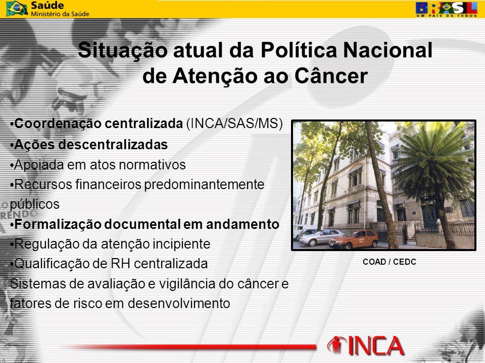 COAD / CEDC Coordenação centralizada (INCA/SAS/MS) Ações descentralizadas Apoiada em atos normativos Recursos financeiros predominantemente públicos F