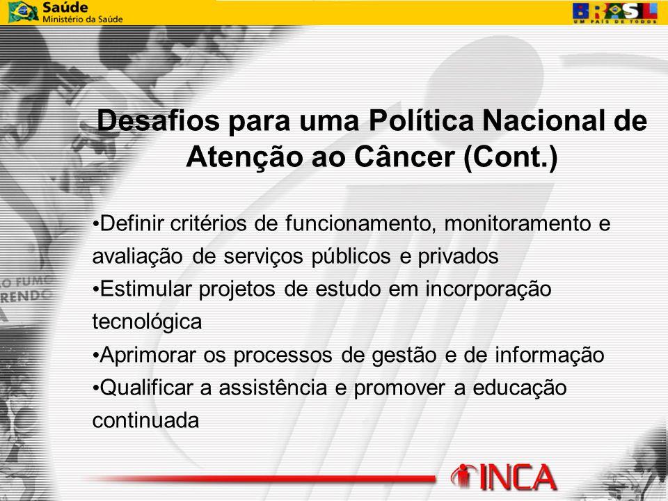 Desafios para uma Política Nacional de Atenção ao Câncer (Cont.) Definir critérios de funcionamento, monitoramento e avaliação de serviços públicos e