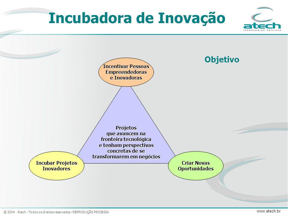 © 2004 Atech - Todos os direitos reservados - REPRODUÇÃO PROIBIDA www.atech.br Projetos que avancem na fronteira tecnológica e tenham perspectivas con