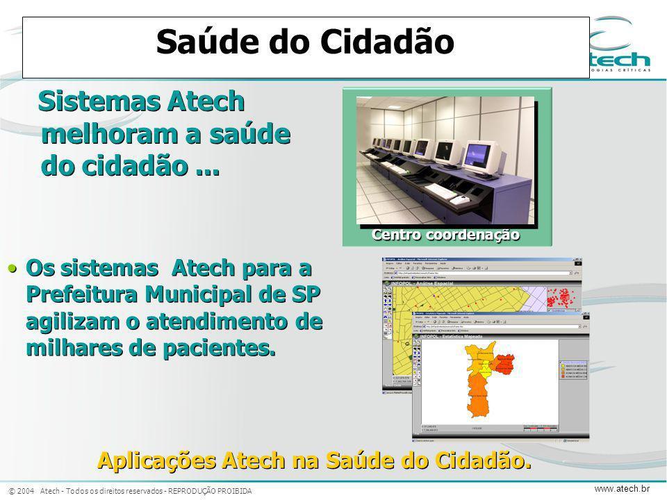 © 2004 Atech - Todos os direitos reservados - REPRODUÇÃO PROIBIDA www.atech.br Saúde do Cidadão Sistemas Atech melhoram a saúde do cidadão... Centro c