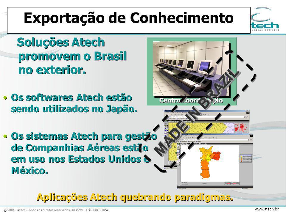 © 2004 Atech - Todos os direitos reservados - REPRODUÇÃO PROIBIDA www.atech.br Exportação de Conhecimento Soluções Atech promovem o Brasil no exterior