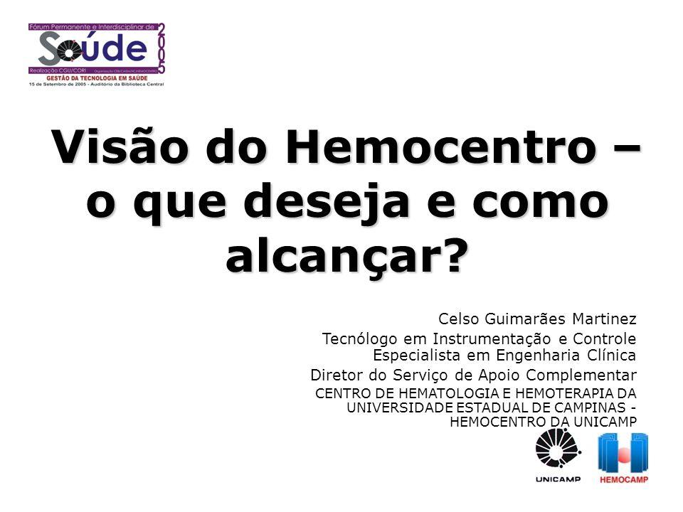 Visão do Hemocentro – o que deseja e como alcançar? Celso Guimarães Martinez Tecnólogo em Instrumentação e Controle Especialista em Engenharia Clínica
