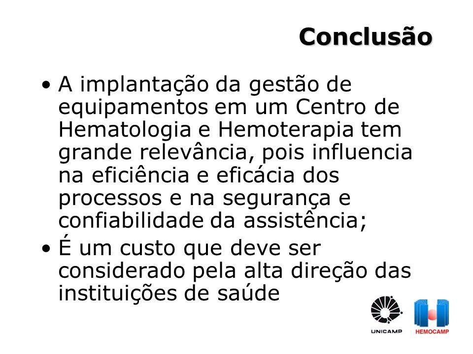A implantação da gestão de equipamentos em um Centro de Hematologia e Hemoterapia tem grande relevância, pois influencia na eficiência e eficácia dos