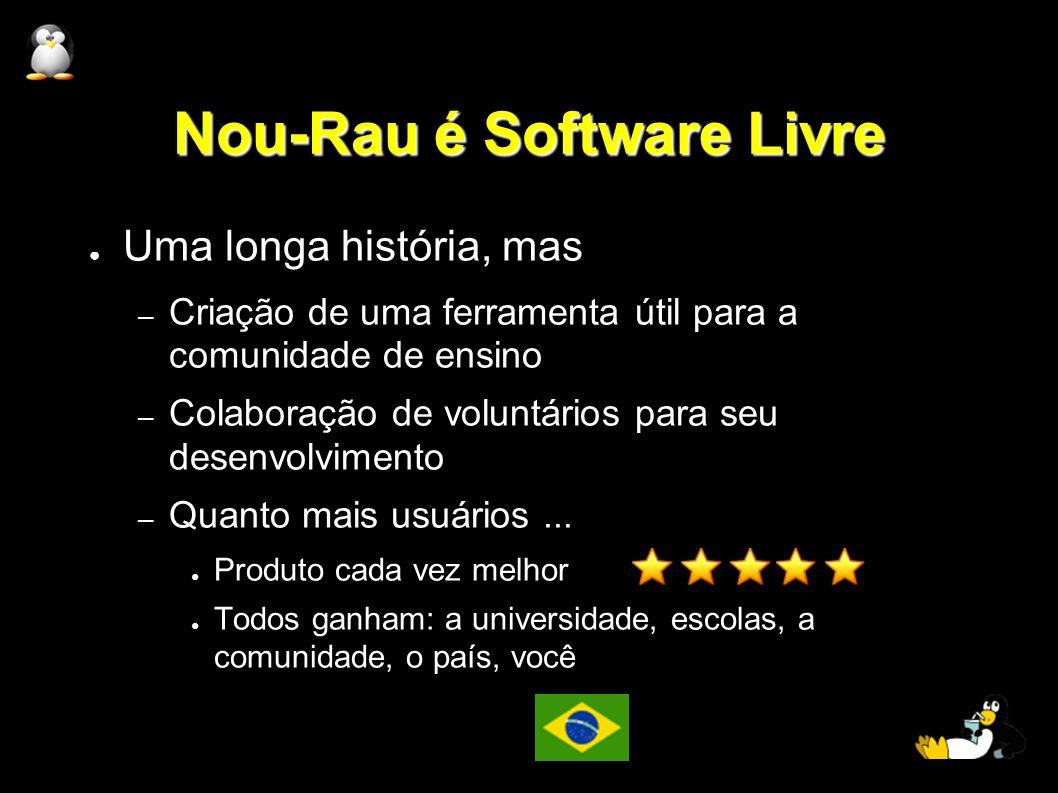 Nou-Rau é Software Livre Uma longa história, mas – Criação de uma ferramenta útil para a comunidade de ensino – Colaboração de voluntários para seu de