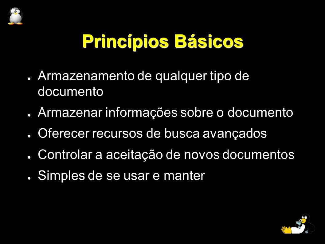 Princípios Básicos Armazenamento de qualquer tipo de documento Armazenar informações sobre o documento Oferecer recursos de busca avançados Controlar