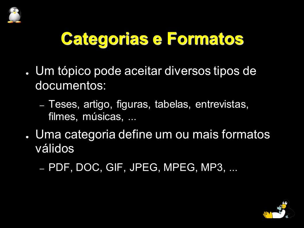Categorias e Formatos Um tópico pode aceitar diversos tipos de documentos: – Teses, artigo, figuras, tabelas, entrevistas, filmes, músicas,... Uma cat