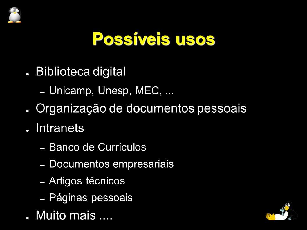 Possíveis usos Biblioteca digital – Unicamp, Unesp, MEC,... Organização de documentos pessoais Intranets – Banco de Currículos – Documentos empresaria