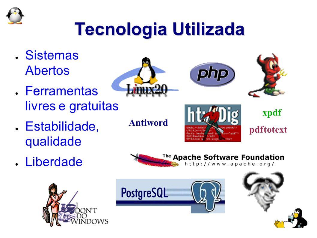Tecnologia Utilizada Sistemas Abertos Ferramentas livres e gratuitas Estabilidade, qualidade Liberdade Antiword xpdf pdftotext