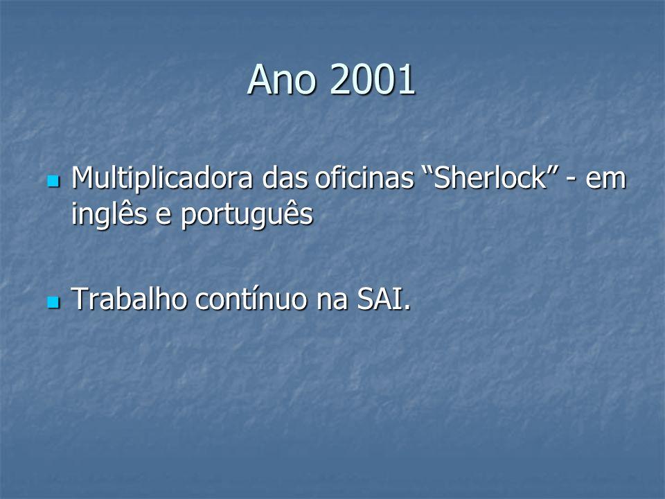 Ano 2001 Multiplicadora das oficinas Sherlock - em inglês e português Multiplicadora das oficinas Sherlock - em inglês e português Trabalho contínuo n