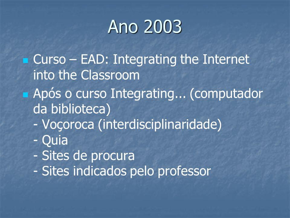 Ano 2003 Curso – EAD: Integrating the Internet into the Classroom Após o curso Integrating... (computador da biblioteca) - Voçoroca (interdisciplinari