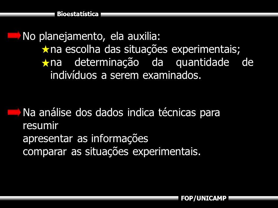 Bioestatística FOP/UNICAMP No planejamento, ela auxilia: na escolha das situações experimentais; na determinação da quantidade de indivíduos a serem e