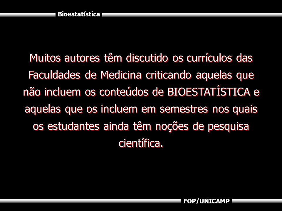 Bioestatística FOP/UNICAMP Muitos autores têm discutido os currículos das Faculdades de Medicina criticando aquelas que não incluem os conteúdos de BI
