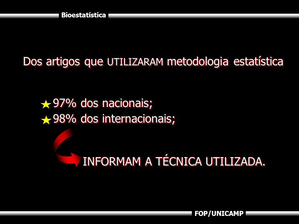 Bioestatística FOP/UNICAMP Dos artigos que UTILIZARAM metodologia estatística 97% dos nacionais; 98% dos internacionais; INFORMAM A TÉCNICA UTILIZADA.