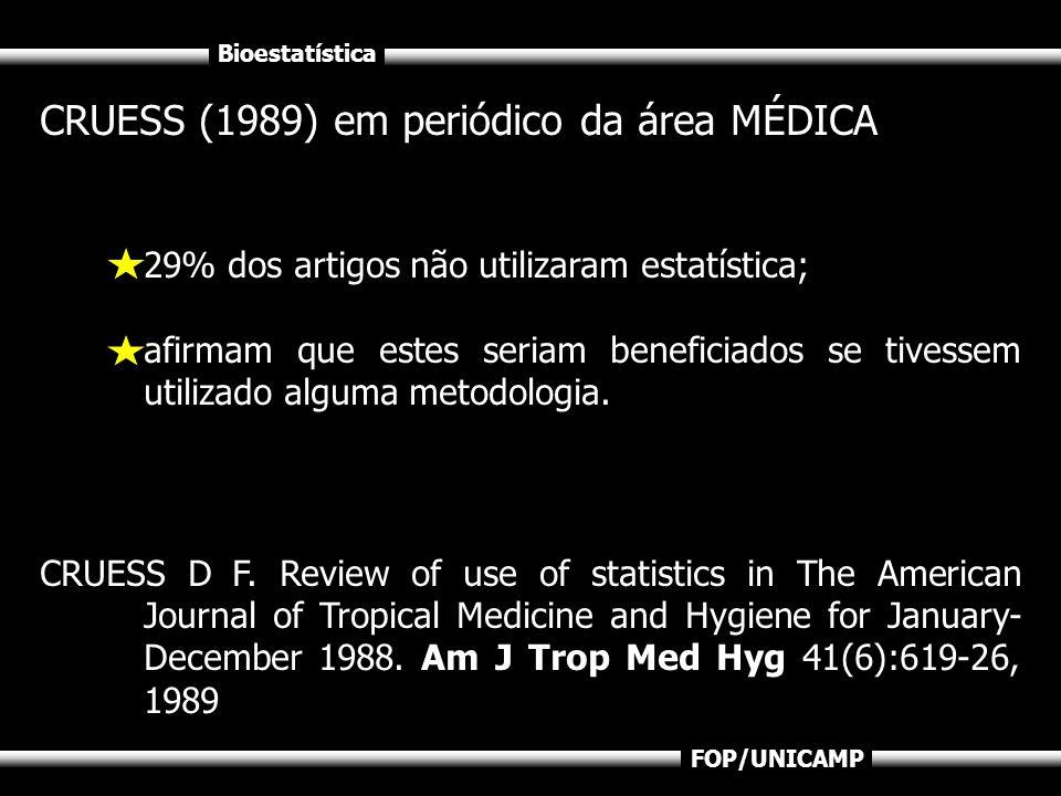 Bioestatística FOP/UNICAMP CRUESS (1989) em periódico da área MÉDICA 29% dos artigos não utilizaram estatística; afirmam que estes seriam beneficiados